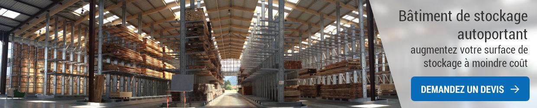 Bâtiment de stockage autoportant